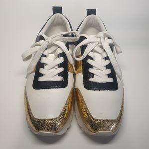 Zara Metallic Gold Wedge Sneakers